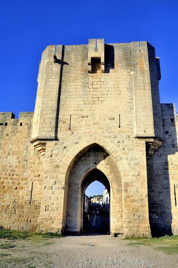 The ramparts of Aigues-Mortes. Medieval walled city in the Camargue in the south-east of France stock photo