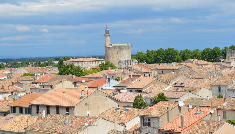 Ramparts of Aigues-Mortes. In Southern France stock photography