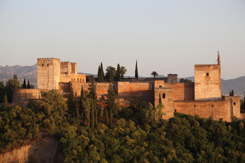 Ramparts of the Alhambra. In Granada, Andalusia Spain royalty free stock image