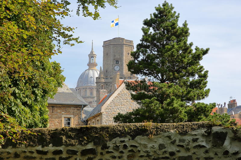 The ramparts with the Belfry and the Basilica of Notre Dame in the background, Boulogne sur Mer, Cote d`Opale, Pas de Calais, Haut stock photos