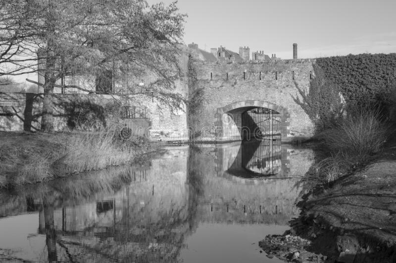 The Ramparts in Bergues, France. Black and white image of the ramparts in Bergues, northern France royalty free stock photo