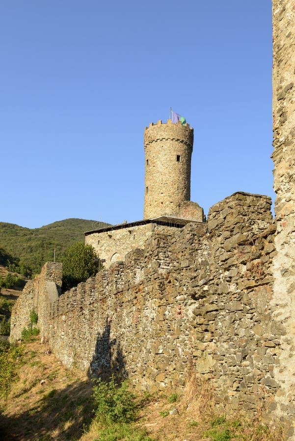 Ramparts Campo Ligure kasztel, Ligure głąb lądu, Włochy fotografia royalty free