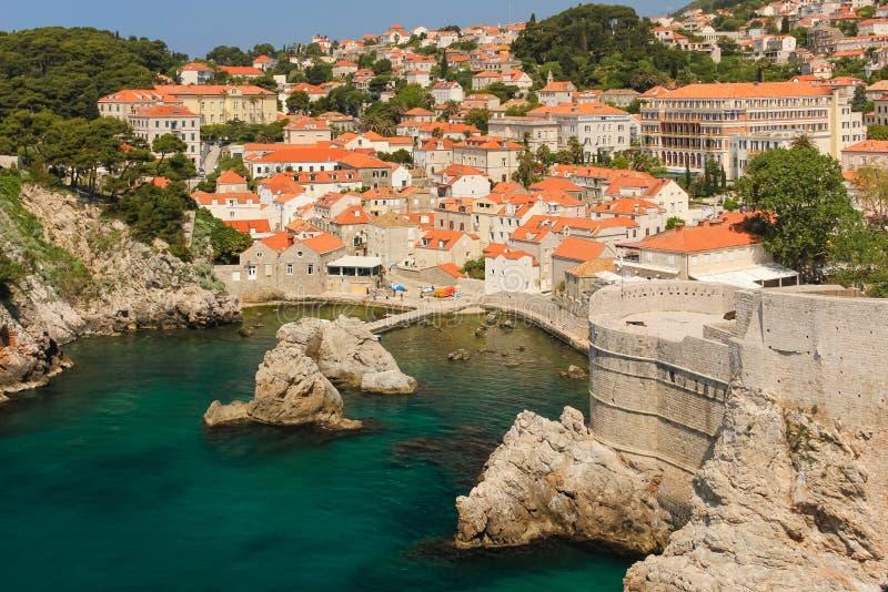 Ramparts and citadel. Dubrovnik. Croatia. A little harbour, bokar fort, city walls and old town. Dubrovnik. Croatia stock image