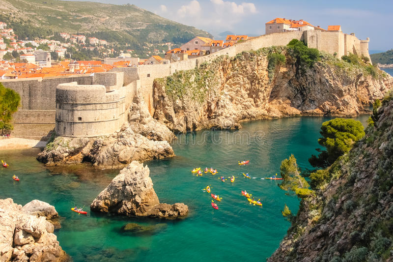 Ramparts and citadel. Dubrovnik. Croatia. A little harbour, Bokar fort, city walls and old town. Dubrovnik. Croatia royalty free stock photography