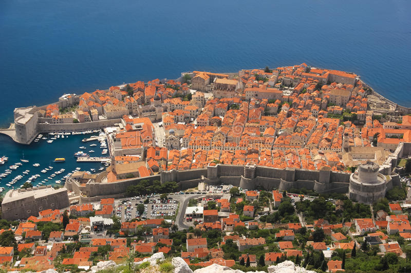 Ramparts and citadel. Dubrovnik. Croatia. The old town viewed from the castle. Dubrovnik. Croatia royalty free stock photography