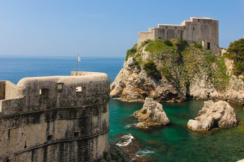 Ramparts and Fort Lovrijenac. Dubrovnik. Croatia. Ramparts, the barbican at Fort Bokar and the massive Fort Lovrijenac. Dubrovnik. Croatia stock photos