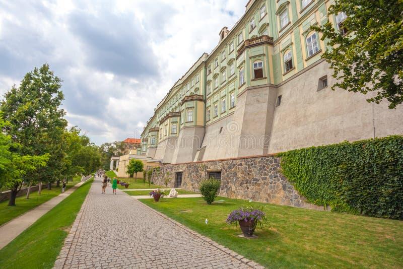 Prague, Czech Republic - 21.08.2018: Ramparts gardens from Prague Castle. Ramparts gardens from Prague Castle royalty free stock photography