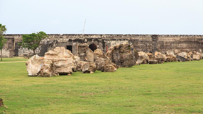 Ramparts Jaffna fort w Sri Lanka i ruiny fotografia stock