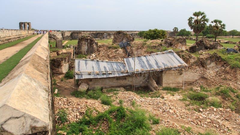 Ramparts Jaffna fort w Sri Lanka i ruiny obraz stock