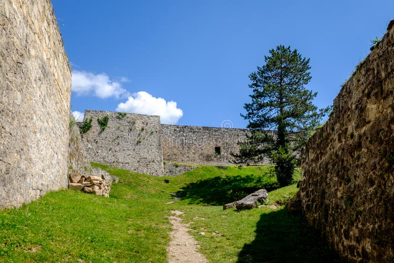 Ramparts of Jajce Fortress. In Jacje, Bosnia and Herzegovina stock images