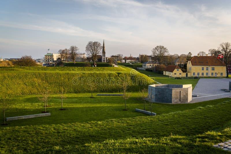 Ramparts of the Kastellet, Copenhagen, Denmark. Ramparts of the Kastellet, Star-shaped 17th-century fortress with ramparts, Copenhagen, Denmark stock photos