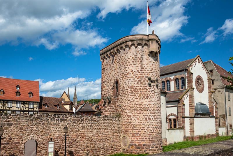 Ramparts in Obernai town center, Alsace wine route, France. Ramparts is the inner wall of the old town Obernai, measuring 1,400 metres long, has around twenty royalty free stock photos