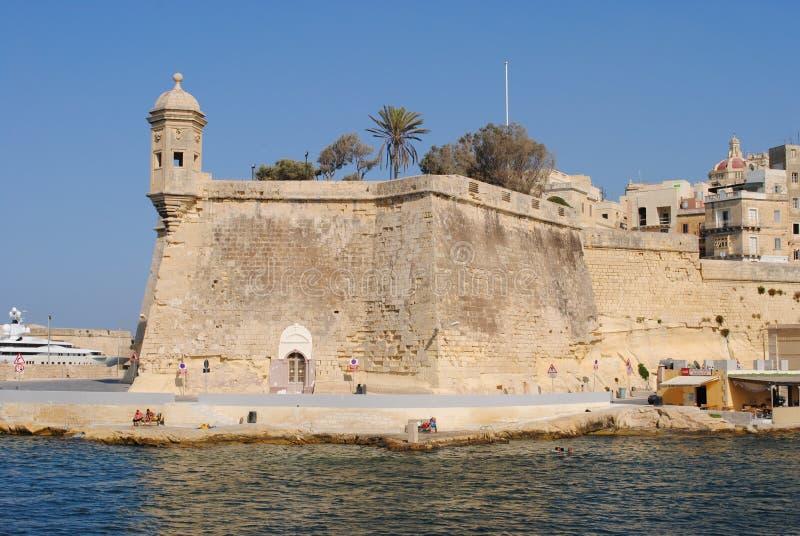 Ramparts w mieście Valletta zdjęcie stock