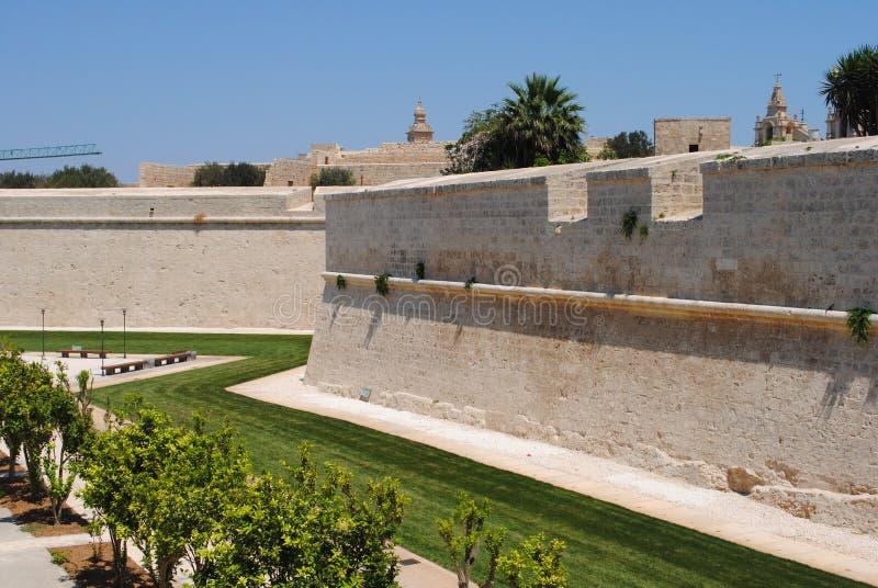 Ramparts w wyspie Malta fotografia stock