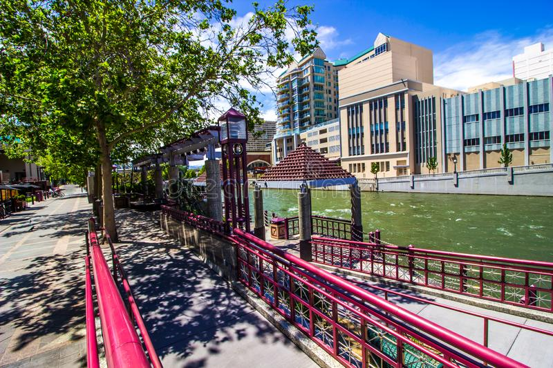 Ramps Leading To Truckee River Along River Walk. Ramps Leading To Truckee River And Pavilions Along Reno River Walk stock images