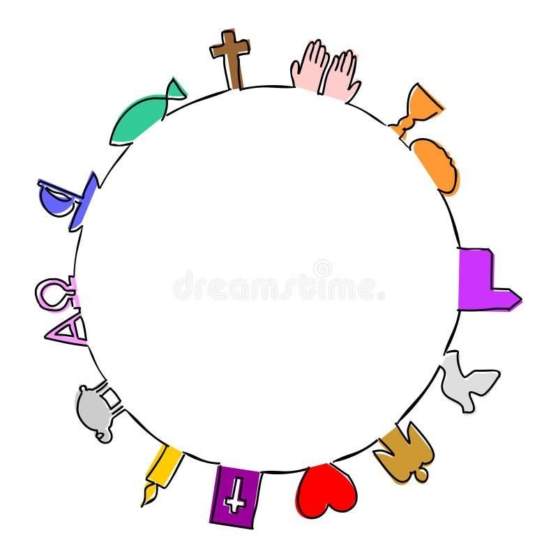 Ramrunda som göras av kristna symboler vektor illustrationer