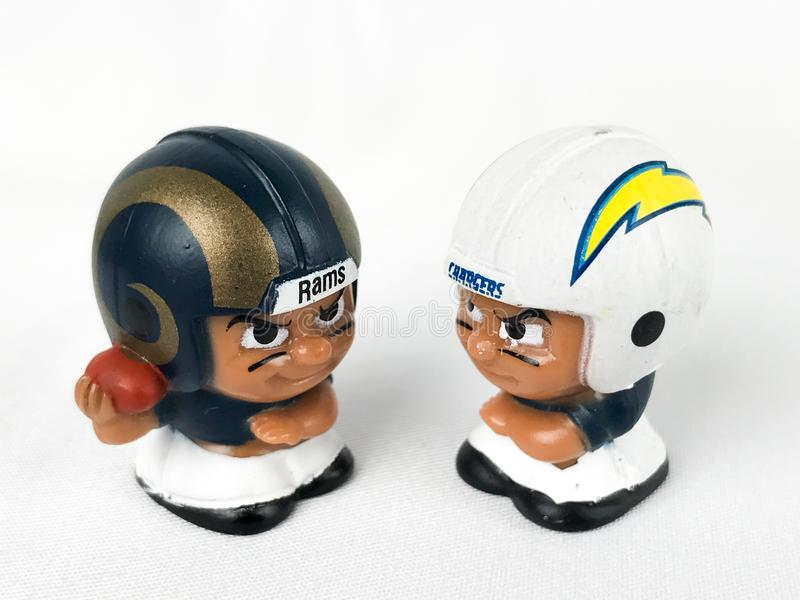 Rams and Chargers Li'l Teammates Collectibles. Rams and Chargers Li'l Teammates Collectibles stock image