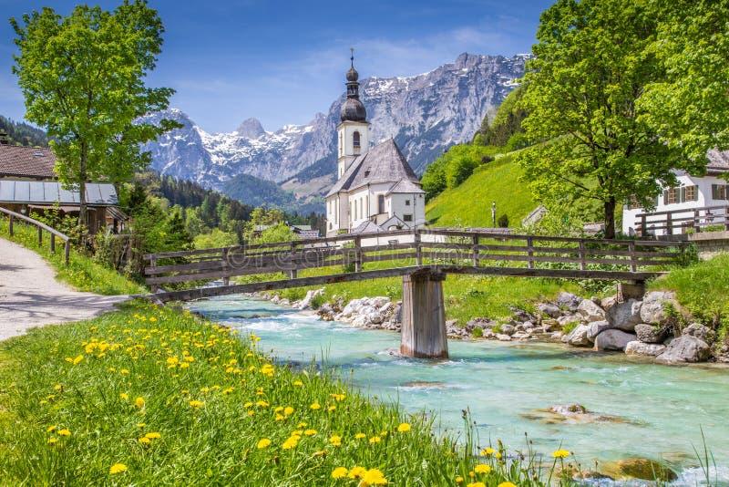 Ramsau, Nationalpark Berchtesgadener土地,巴伐利亚,德国教会  图库摄影