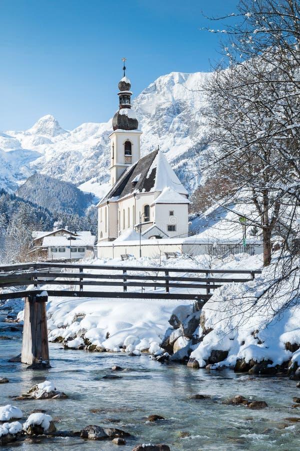 Ramsau im Winter, Berchtesgadener Land, Bayern, Deutschland lizenzfreies stockbild