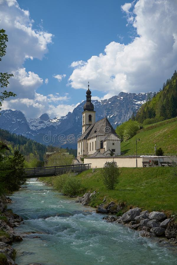 Ramsau Kirche St. Sebastian Berchtesgaden Bavaria - Germany. In spring stock photography