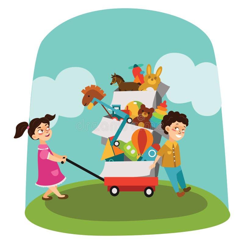 Ramschverkauf, Junge und Mädchen kauften Spielwaren am Frühlingsverkauf, Kinder tragen Wagen mit Kästen benutzten Spielzeug, Kind stock abbildung