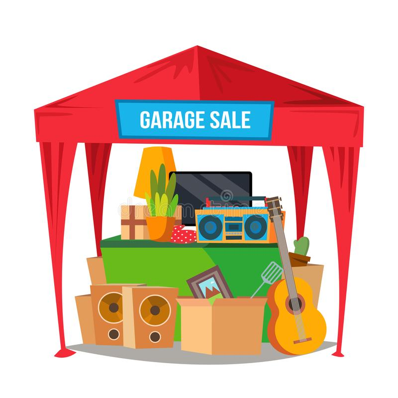 Ramschverkauf-Vektor Reduzierte Artikel Vorbereiten eines Garagenflohmarkts Lokalisierte flache Zeichentrickfilm-Figur-Illustrati vektor abbildung