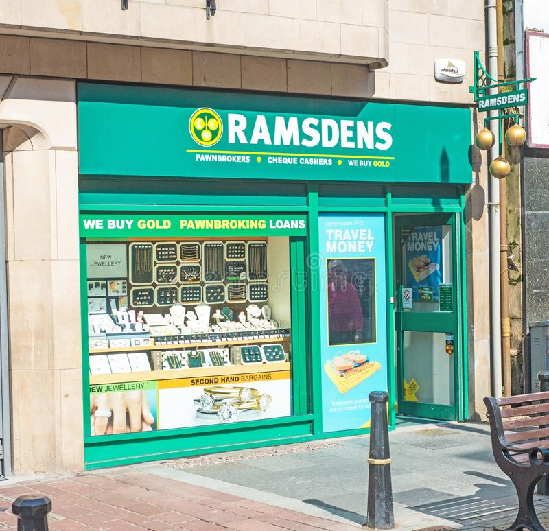 Ramsdens pawnbrokers with 3 balls sign stock photography