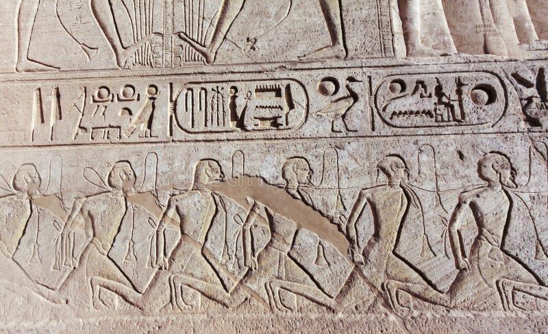 Ramses 2 Carvings murais exteriores do templo em Abu Simbel Egypt fotos de stock