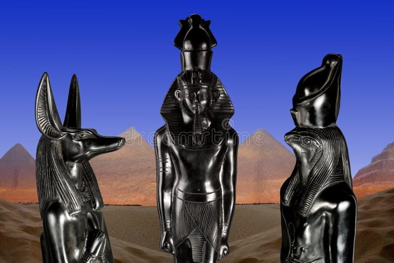 Ramses II, Anubis & Horus fotografia stock