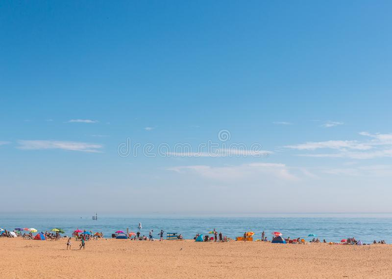 Glorious weather for the bank holiday weekend as tourists and locals enjoy the beach at Ramsgate. Ramsgate, UK - Aug 25 2019.  Glorious weather for the August stock image