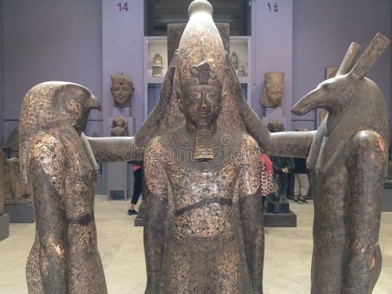 Ramsis III statue wearing the crown stock photos