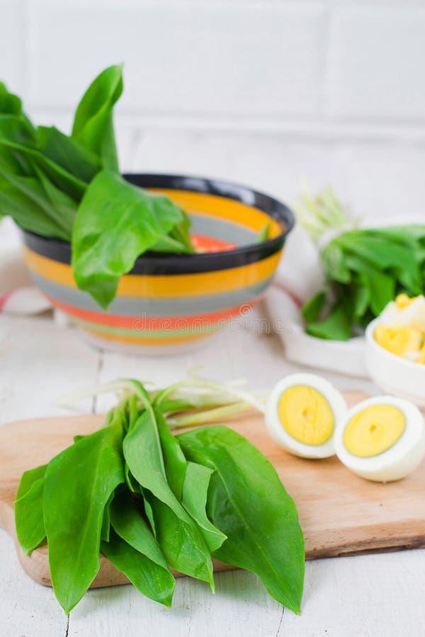 Ramson и вареные яйца Установите для салата весны стоковые фото