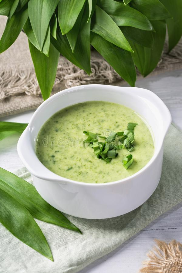 Ramsons cream soup royalty free stock images