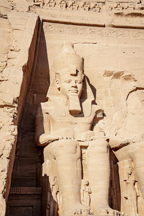 Ramsses II or Ramsses the Great statue carved in rock mountain at Abu Simbel Temple Egypt stock photography
