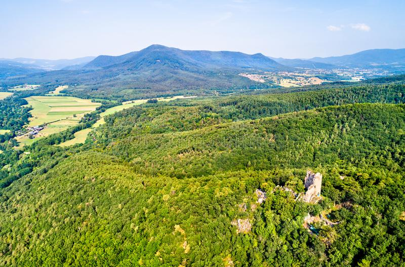 Ramstein castle in the Vosges Mountains, France stock photos