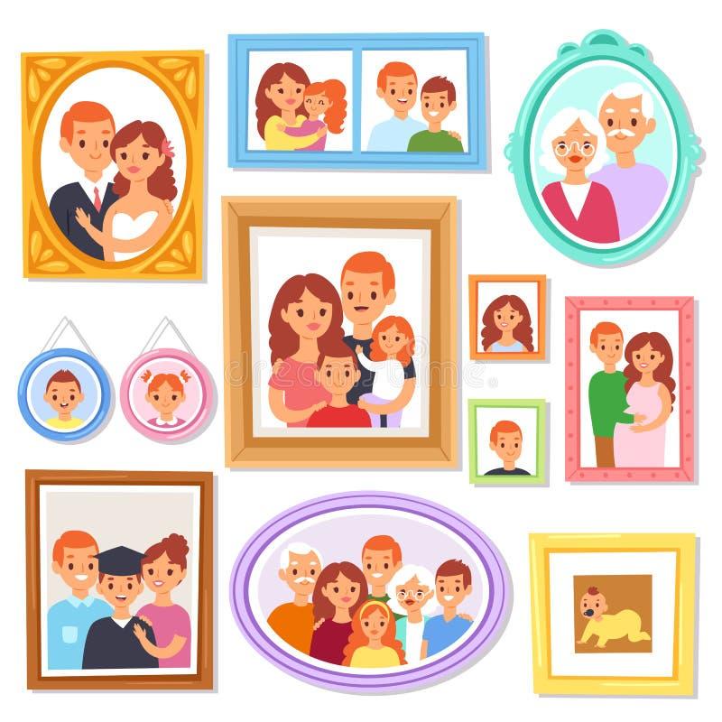 Ramvektor som inramar bild- eller familjfotoet på väggen för garneringillustrationuppsättning av den dekorativa gränsen för tappn stock illustrationer