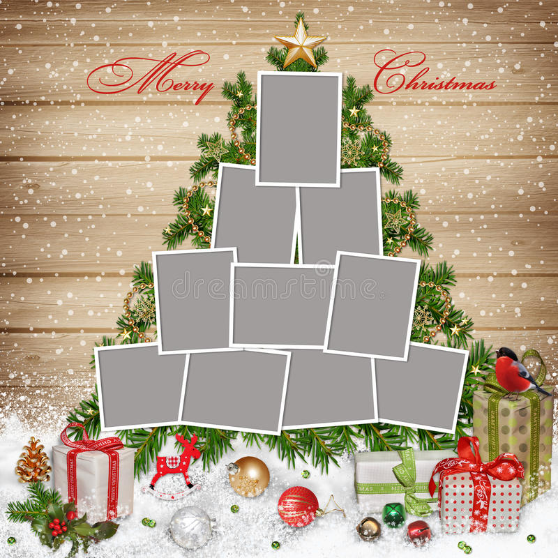 Ramy dla rodziny, Bożenarodzeniowych dekoracj i prezentów na drewnianym tle, ilustracji