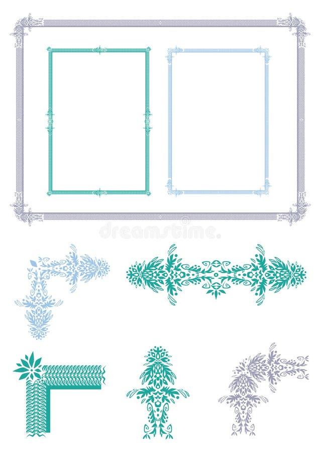 Ramy i kąta ornamentu roślina royalty ilustracja