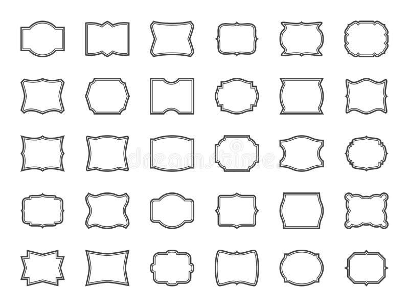ramy ustawiaj? rocznika Dekoracyjnych kształtów kreskowe granicy, puste retro etykietki, odznaki Świadectwo majchery ornamentacyj royalty ilustracja