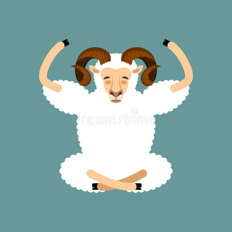 RAMyoga Isolerad yogi för fårlantgårddjur avkoppling vektor illustrationer