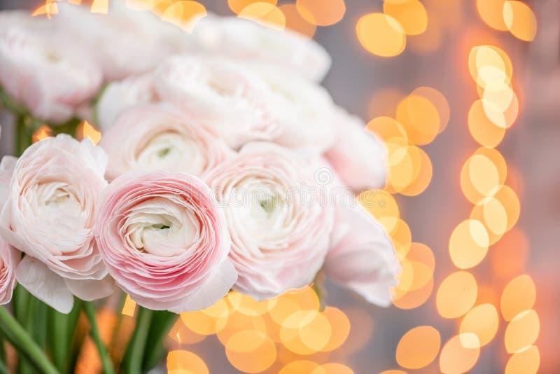 Ranúnculo persa Manojo pálido - flores rosadas del ranúnculo en el florero de cristal Bokeh de la guirnalda en fondo Papel pintad foto de archivo