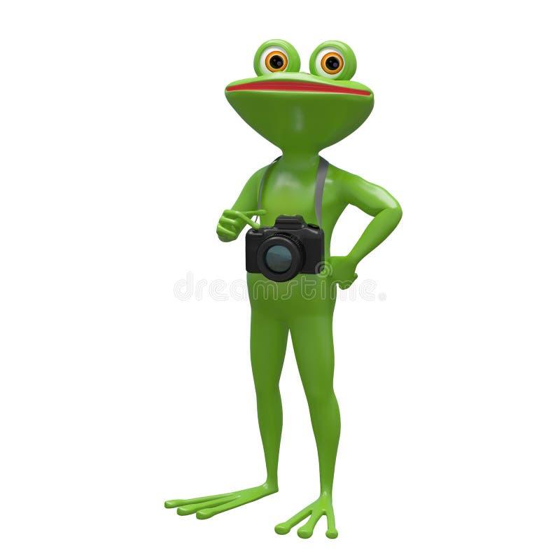 rana común del ejemplo 3D con una cámara stock de ilustración