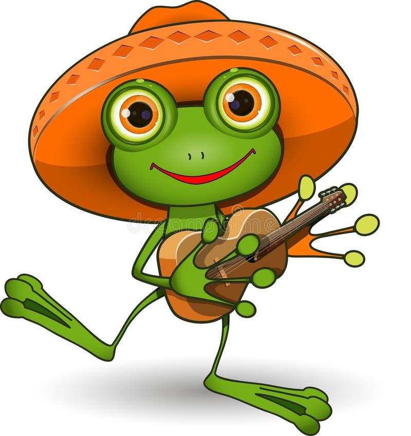 Rana con la chitarra illustrazione vettoriale