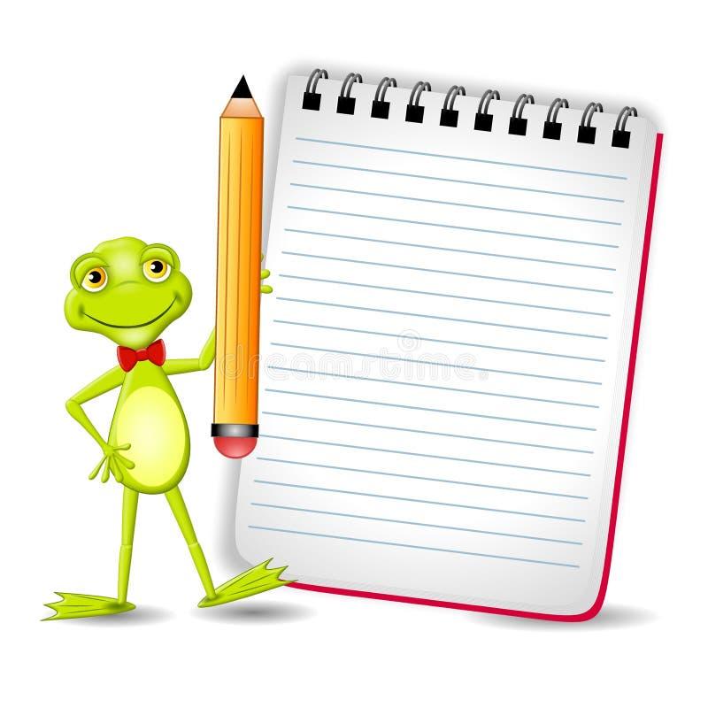 Rana con la libreta y el lápiz stock de ilustración