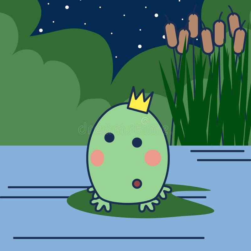 Rana de la princesa de la historieta con la corona en un pantano ilustración del vector