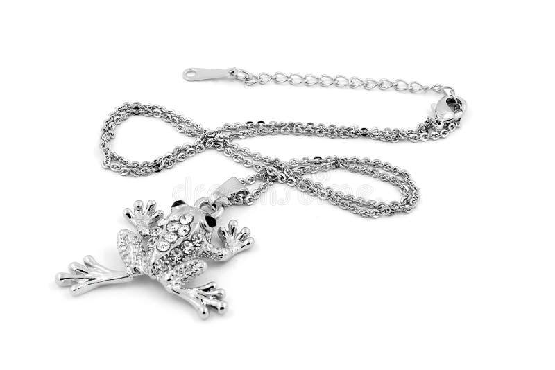 Rana del pendente del gioiello - argento immagine stock libera da diritti