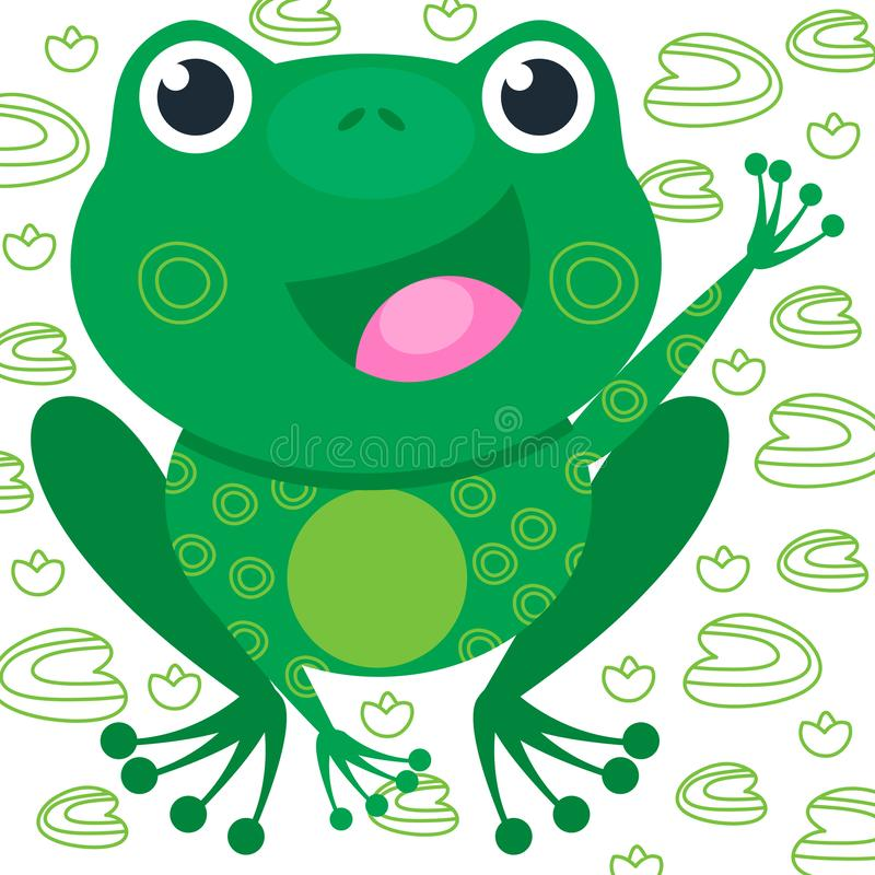 Rana divertente verde sui precedenti bianchi con il giglio Sorriso dell'animale Illustrazione di vettore, bambino del fumetto illustrazione vettoriale