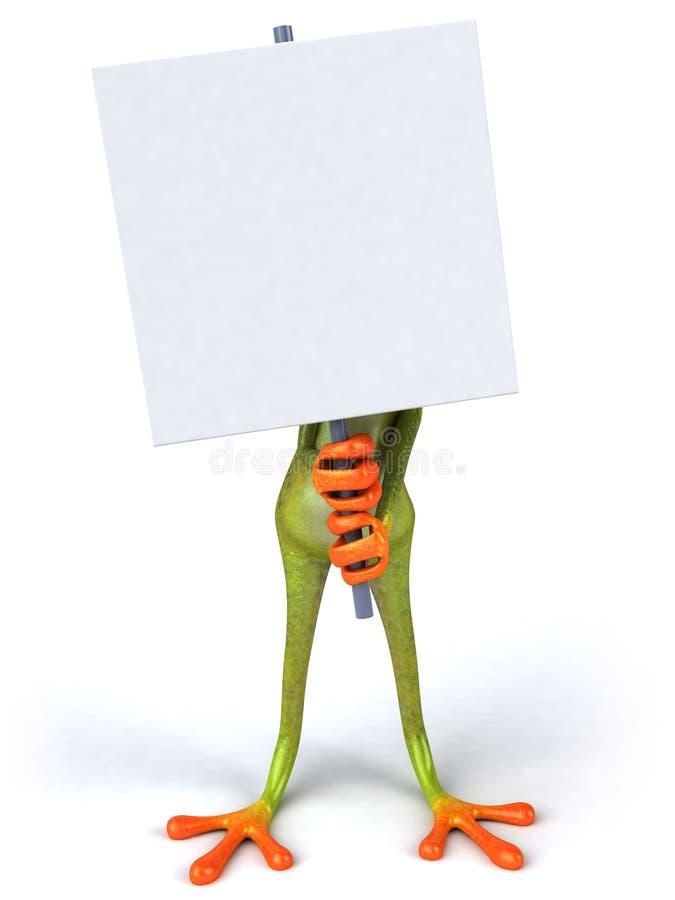 Rana divertida con una muestra en blanco stock de ilustración
