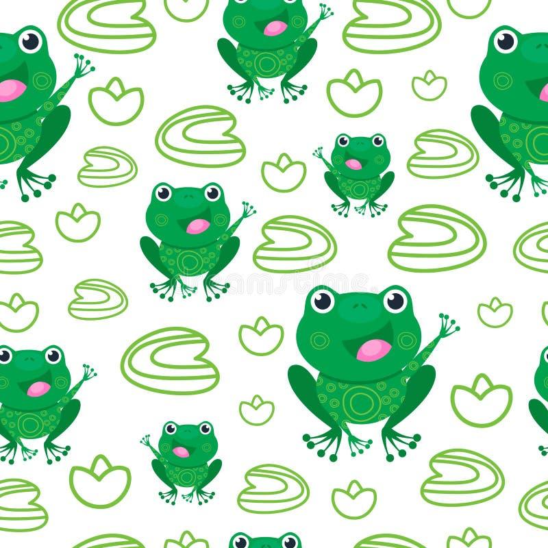 Rana divertida en el pantano entre el modelo inconsútil de las hojas Animal feliz Ejemplo del vector, bebé de la historieta ilustración del vector
