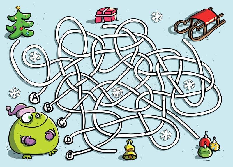 Rana divertida en juego del laberinto del invierno libre illustration